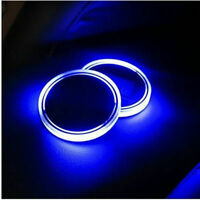 2PCS Blue LED Car Cup Holder Pad Mat USB Charge Auto Interior Atmosphere Lights