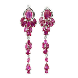 Oval Red Ruby 7x5mm 14K White Gold Plate 925 Sterling Silver Earrings