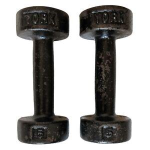 Vtg York 5lb Pair Cast Iron Dumbbells 10 lb Total Round Head USA Stamp Flat Rest