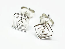"925 Sterling Silver Cartilage Earring Stud for Women Square Spiral 1/4"" (6mm)"
