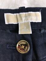 Michael Kors Women's Slim Dress Pants Cropped Ankle Navy Blue Cotton Trousers| 2