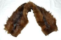 Vintage Brown Striped Fox Fur Natural Hide Back Soft Cuddly Scarf Wrap Collar