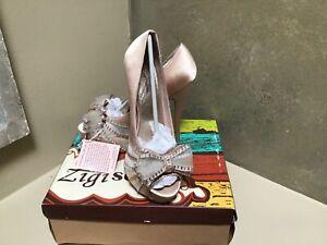 ZIGI SOHO Supreme PROM Party High Heel bow satin shoes Champagne 8,5 US NWB