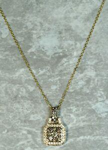 Modern Estate 14K Yellow Gold Diamond Lock Pendant Necklace