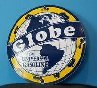 VINTAGE GLOBE GASOLINE PORCELAIN GAS MOTOR OIL SERVICE STATION PUMP PLATE SIGN