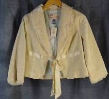 Hollister Large New NWT Ivory Cropped Tie Front Velveteen Jacket