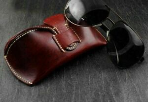 New Vintage Eyeglasses Genuine Leather Fashion Case For Eyewear Box Accessories