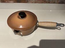 Vintage Le Creuset Hazlenut Brown Pan Cast Iron Saucepan Size 16cm Wooden Handle
