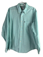 Brooks Brothers 346 Button Down Shirt Mens Large Blue Green Striped LS Cotton