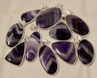 10 Pcs Natural AMETHYST LACE AGATE 925 Sterling Silver Plated Bezel Pendant PL-1