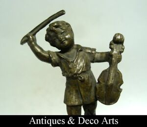 Antique Bronze Figure of a Boy with Violin