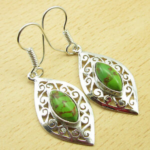 """925 Silver Plated GREEN COPPER TURQUOISE UNUSUAL Celtic Earrings 1.9"""""""