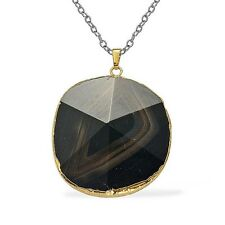 "HUGE Blue Agate Pendant in Goldtone w/20"" Stainless Steel Chain - TGW 80.00 Cts"