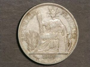 FRENCH INDO-CHINA 1909A 1 Piastre Silver Crown XF