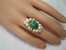 Jade Diamond Pearl Ring 14K Gold Antique Wedding Engagement Retro Vintage Great!
