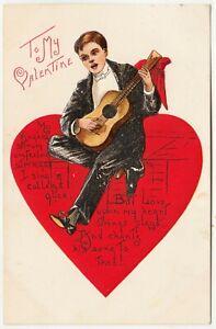 TO MY VALENTINE - Man Strumming Guitar - Embossed - c1900s era postcard