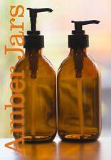 2 x 300ml Amber Glass Bottle Lotion Pump, Soap Dispenser. QUALITY EUROPEAN MADE