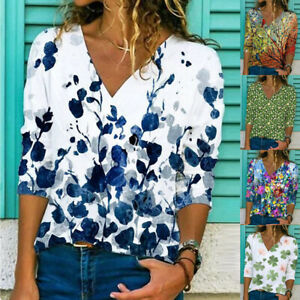 Womens Autumn Shirt Pullover Casual Blouse Holiday Loose Ladies Floral Tee Tops