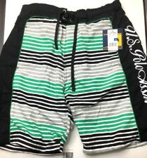 Men's U.S Polo Assn. Multi. Color Green, White, And Black Board Shorts XL NWT