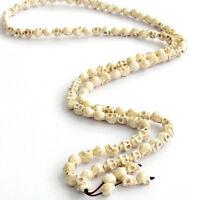 White Howlite Turquoise Skull Tibet Buddhist 108 Prayer Beads Mala Necklace-10mm