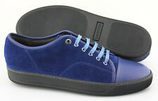 Men's LANVIN 'Lace-Up' Blue Leather / Suede Sneakers Size US 12 UK 11