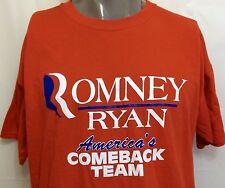 Romney Ryan America's Comeback Team Red Campaign Shirt Size XL Republican Rhino