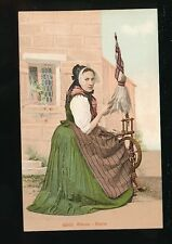 Switzerland GLARUS GLARIS Tradional dress Weaving  spinning c1900/10s? PPC