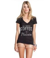 All I Need Is Coffee & Mascara Women's V-Neck T-Shirt Funny Coffee Lover Gift