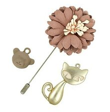 3 pieces set Leather Brooch Pins Collar Cat Monkey Cartoon Flower Leaf Pearl P31
