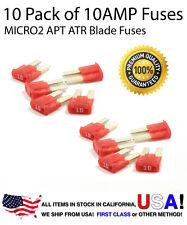 Premium 10 Pack 10 AMP AutomotiveAPT ATR MICRO2 Blade Fuses 10A