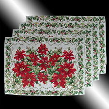 SET OF 4 VINTAGE CHIC WHITE CHRISTMAS POINSETTAS TAPESTRY TABLE LINEN PLACEMATS