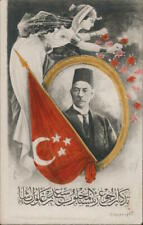 Political Turkey. Flag and Leader. Postcard Vintage Post Card