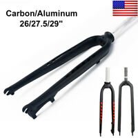 "MTB Mountain Bike Front Fork 26/27.5/29"" Carbon/AL 1-1/8"" Threadless Rigid Fork"