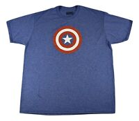 Marvel Mens Captain America Shield Athletic Material Shirt New S, M, L, 2XL