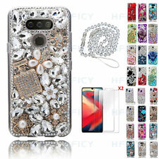 Women Bling Diamonds Perfume Flowers Phone Cases With Crystals Strap & Tempered