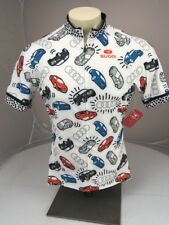 NWT SUGOI AUDI Polka Dots all Over Car Print White Cycling SS Zip Jersey XL