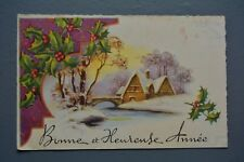 R&L Postcard: Christmas Greetings, French Rural Winter Village House Scene