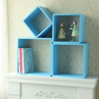One Blue 4 Sizes Cube Wall Shelving Bookcase Floating Shelves Storage Unit New