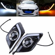 Fit Mazda 3 Axela 2013-2016 LED White Daytime Running Light DRL Turn Signals
