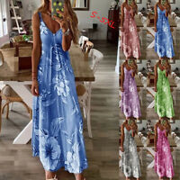 Women Sleeveless Long Maxi Dress Ladies V Neck Sexy Evening Party Floral Dresses