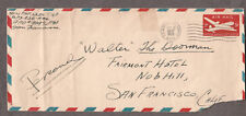 1947 cover Major FH Finnen APO 909 Nanking China to Fairmont Hotel San Francisco
