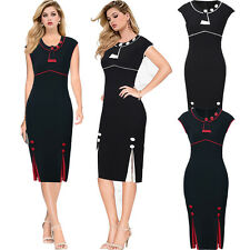 Womens Vintage Style 50s Sleeveless Office Pencil Bodycon Wiggle Party Dress
