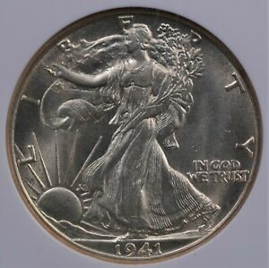 1941 D WALKING LIBERTY HALF DOLLAR NGC MS63 LUSTROUS FROSTY WHITE & WELL STRUCK