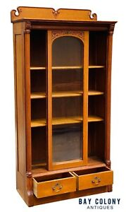 19TH C ANTIQUE TIGER OAK SLIDING GLASS DOOR VICTORIAN BOOKCASE