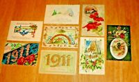 Vintage Lot (8) Early 1900's Embossed New Year Post Cards - Antique Postcards