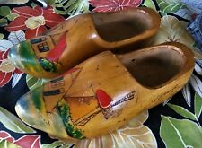 Vintage Rustic Carved Hand Painted Dutch Wooden Shoes Clogs Made in Holland