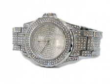 Silver Plated Fully Iced out Faux Diamond Bezel Hiphop Bling Watch
