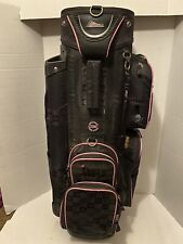 Datrek Golf Cart Bag 14 Club Compartment Slots Pink And Black With Strap W Cover