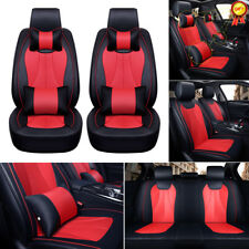 Universal 3D Car Seat Cover W/Neck Lumbar Pillows 5 Seats SUV Black&Red Full Set