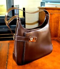 New Salvatore Ferragamo Brown Leather Side Clasp Shoulder Hand Bag AB-210169